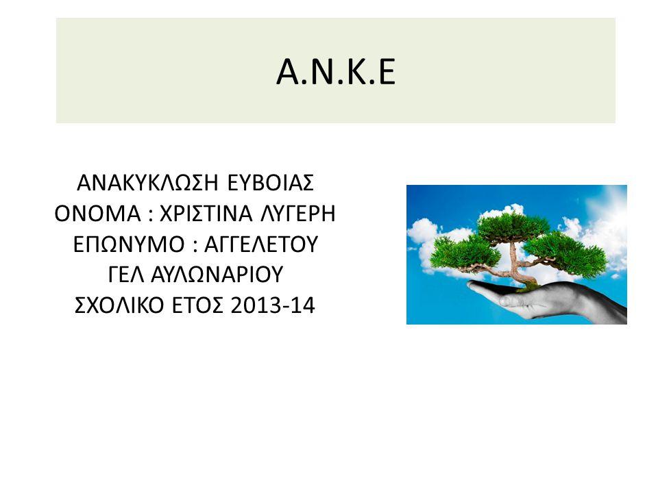 A.N.K.E ΑΝΑΚΥΚΛΩΣΗ ΕΥΒΟΙΑΣ ΟΝΟΜΑ : ΧΡΙΣΤΙΝΑ ΛΥΓΕΡΗ ΕΠΩΝΥΜΟ : ΑΓΓΕΛΕΤΟΥ ΓΕΛ ΑΥΛΩΝΑΡΙΟΥ ΣΧΟΛΙΚΟ ΕΤΟΣ 2013-14
