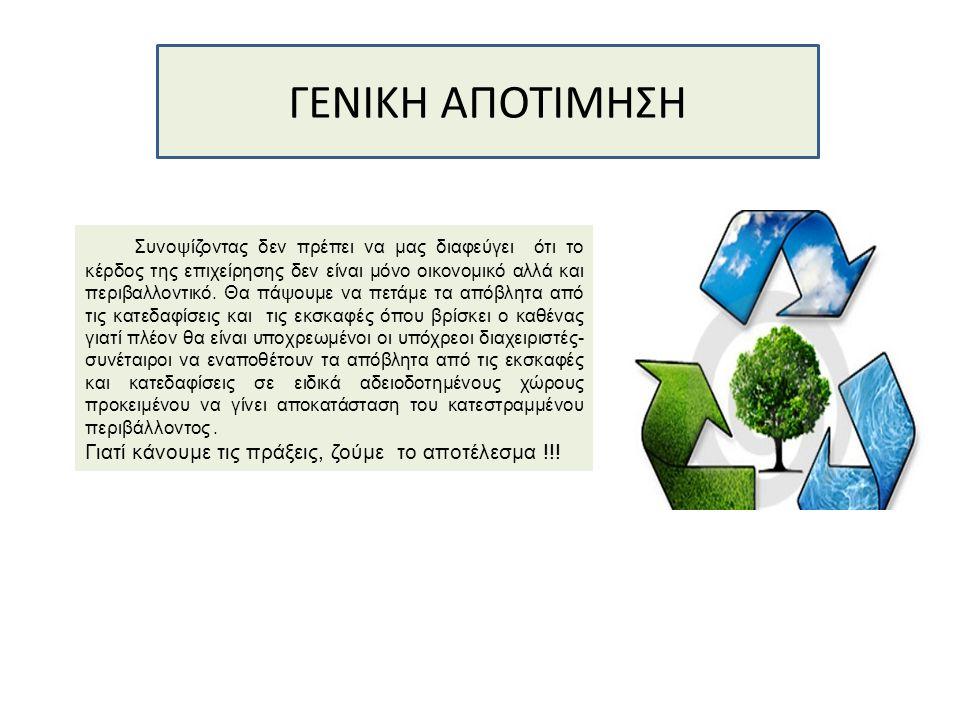 ΓΕΝΙΚΗ ΑΠΟΤΙΜΗΣΗ Συνοψίζοντας δεν πρέπει να μας διαφεύγει ότι το κέρδος της επιχείρησης δεν είναι μόνο οικονομικό αλλά και περιβαλλοντικό. Θα πάψουμε