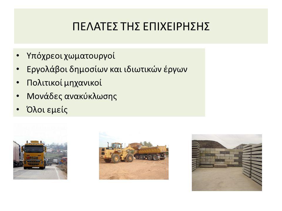 ΠΕΛΑΤΕΣ ΤΗΣ ΕΠΙΧΕΙΡΗΣΗΣ Υπόχρεοι χωματουργοί Εργολάβοι δημοσίων και ιδιωτικών έργων Πολιτικοί μηχανικοί Μονάδες ανακύκλωσης Όλοι εμείς