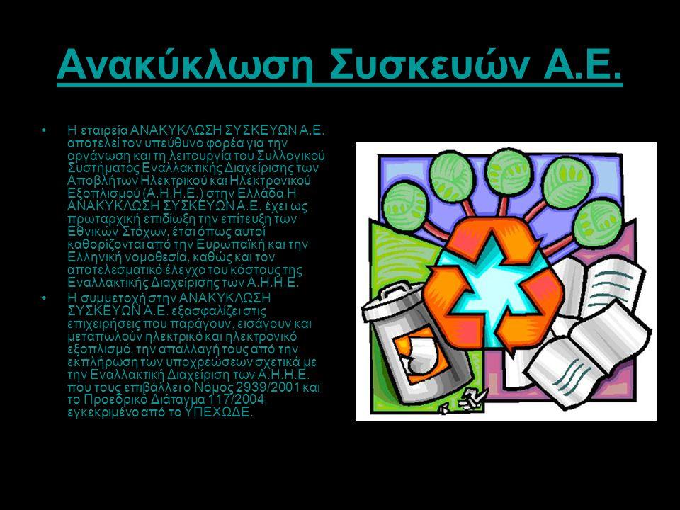 Ανακύκλωση Συσκευών Α.Ε. Η εταιρεία ΑΝΑΚΥΚΛΩΣΗ ΣΥΣΚΕΥΩΝ Α.Ε. αποτελεί τον υπεύθυνο φορέα για την οργάνωση και τη λειτουργία του Συλλογικού Συστήματος