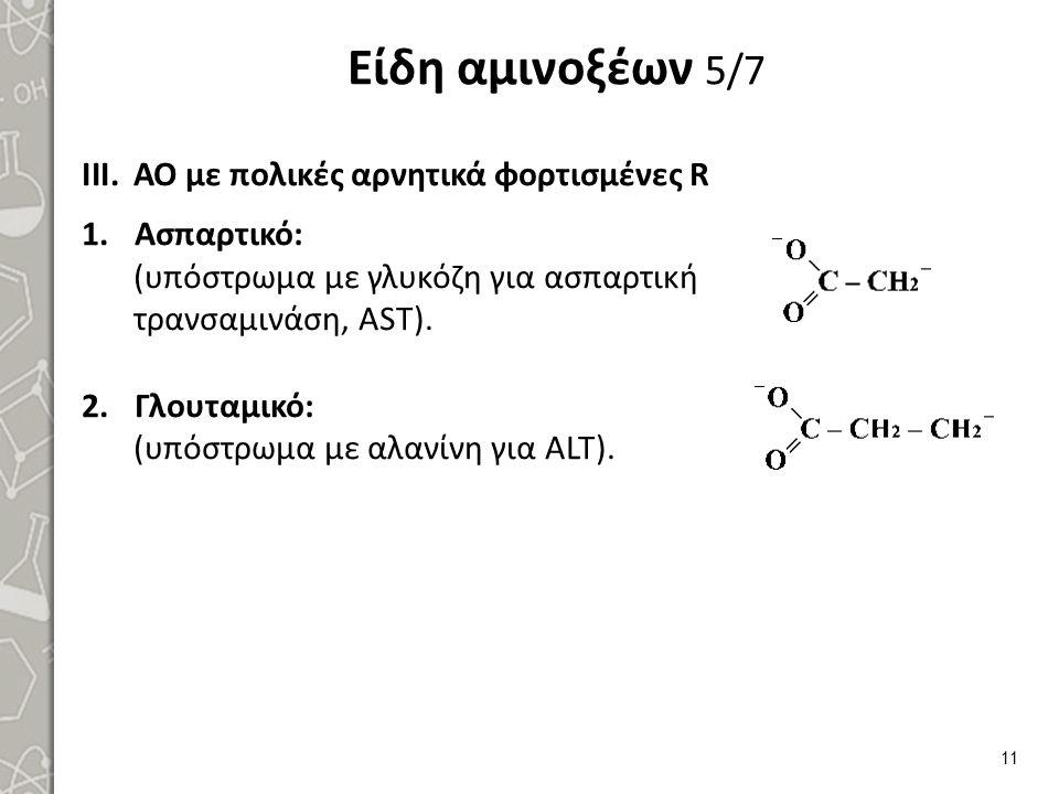 Είδη αμινοξέων 5/7 III.ΑΟ με πολικές αρνητικά φορτισμένες R 1.Ασπαρτικό: (υπόστρωμα με γλυκόζη για ασπαρτική τρανσαμινάση, AST). 2.Γλουταμικό: (υπόστρ