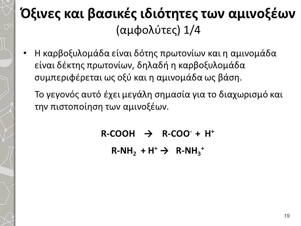 Όξινες και βασικές ιδιότητες των αμινοξέων (αμφολύτες) 1/4 Η καρβοξυλομάδα είναι δότης πρωτονίων και η αμινομάδα είναι δέκτης πρωτονίων, δηλαδή η καρβοξυλομάδα συμπεριφέρεται ως οξύ και η αμινομάδα ως βάση.