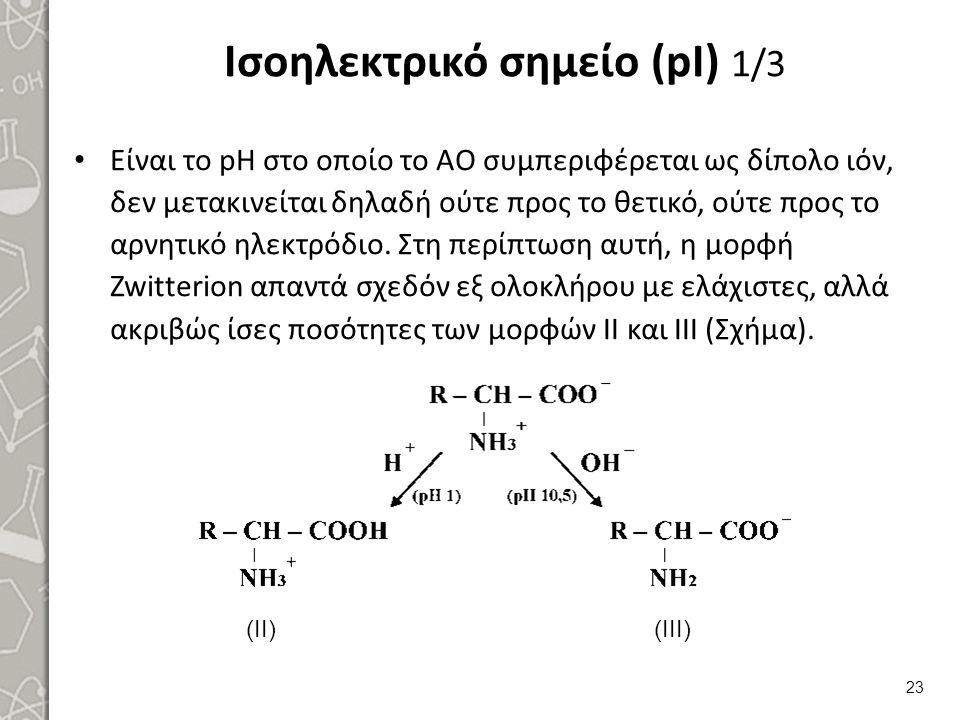Ισοηλεκτρικό σημείο (pI) 1/3 Είναι το pΗ στο οποίο το ΑΟ συμπεριφέρεται ως δίπολο ιόν, δεν μετακινείται δηλαδή ούτε προς το θετικό, ούτε προς το αρνητικό ηλεκτρόδιο.