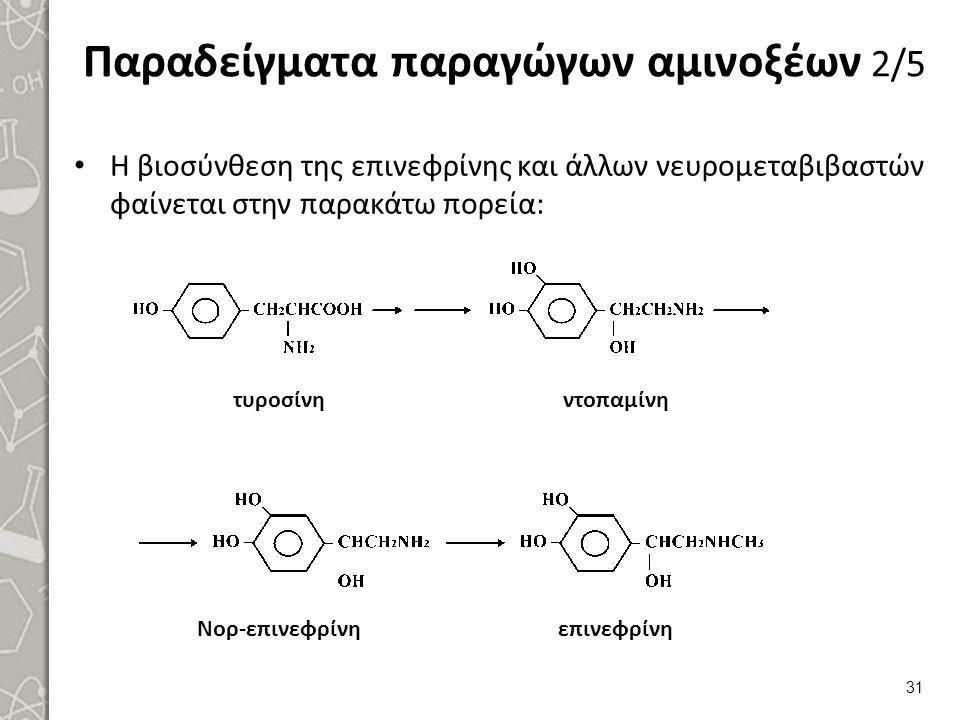 Παραδείγματα παραγώγων αμινοξέων 2/5 Η βιοσύνθεση της επινεφρίνης και άλλων νευρομεταβιβαστών φαίνεται στην παρακάτω πορεία: τυροσίνηντοπαμίνη Νορ-επινεφρίνηεπινεφρίνη 31