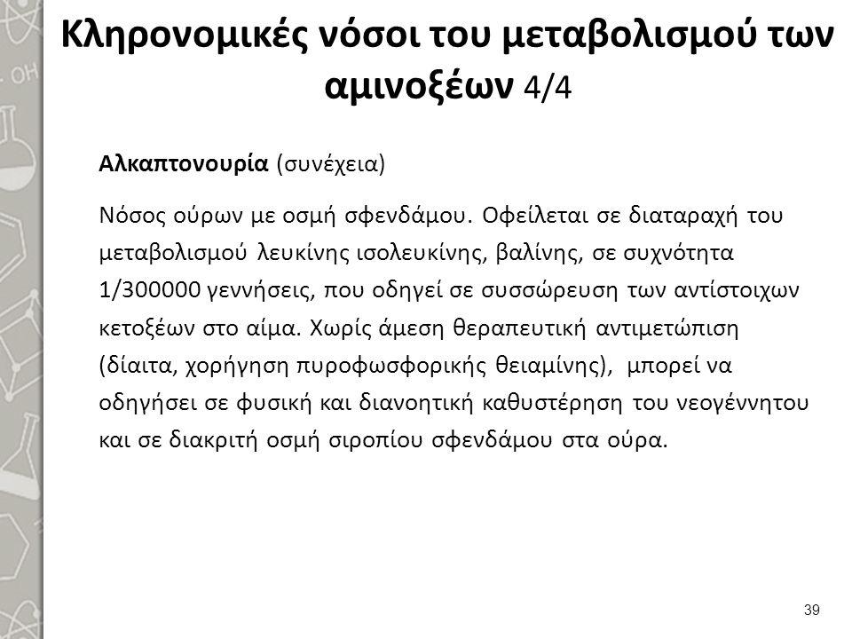 Κληρονομικές νόσοι του μεταβολισμού των αμινοξέων 4/4 Αλκαπτονουρία (συνέχεια) Νόσος ούρων με οσμή σφενδάμου.