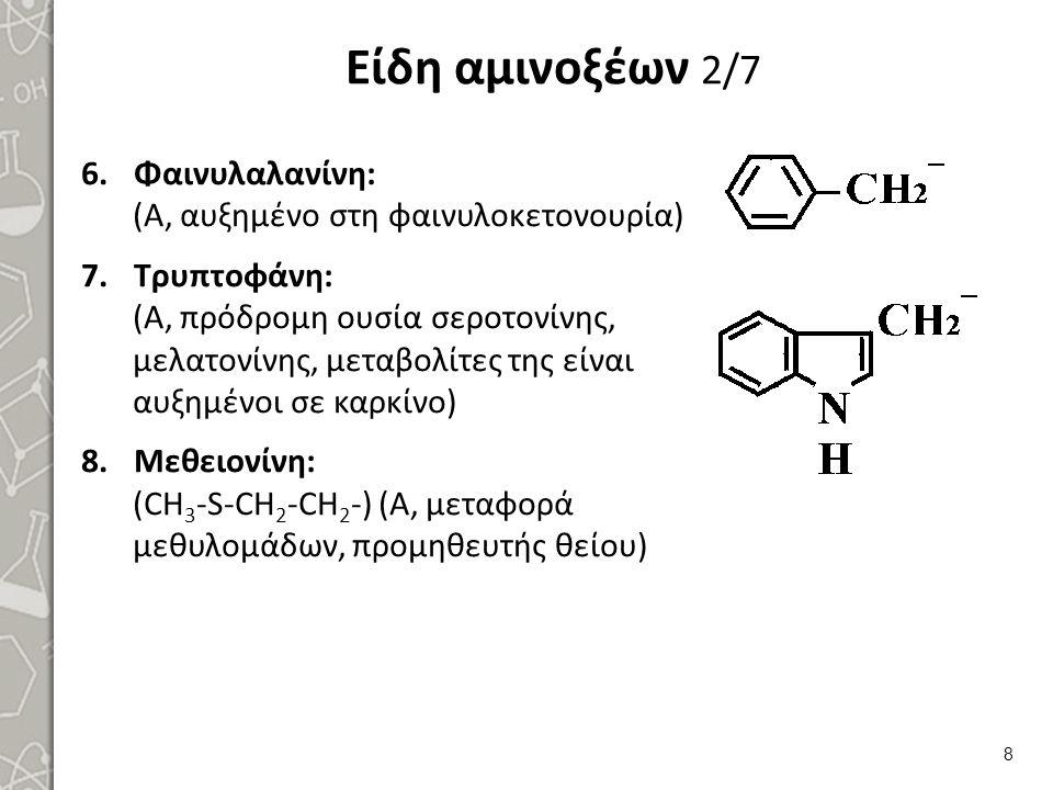 Είδη αμινοξέων 2/7 6.Φαινυλαλανίνη: (Α, αυξημένο στη φαινυλοκετονουρία) 7.Τρυπτοφάνη: (Α, πρόδρομη ουσία σεροτονίνης, μελατονίνης, μεταβολίτες της είναι αυξημένοι σε καρκίνο) 8.Μεθειονίνη: (CH 3 -S-CH 2 -CH 2 -) (Α, μεταφορά μεθυλομάδων, προμηθευτής θείου) 8