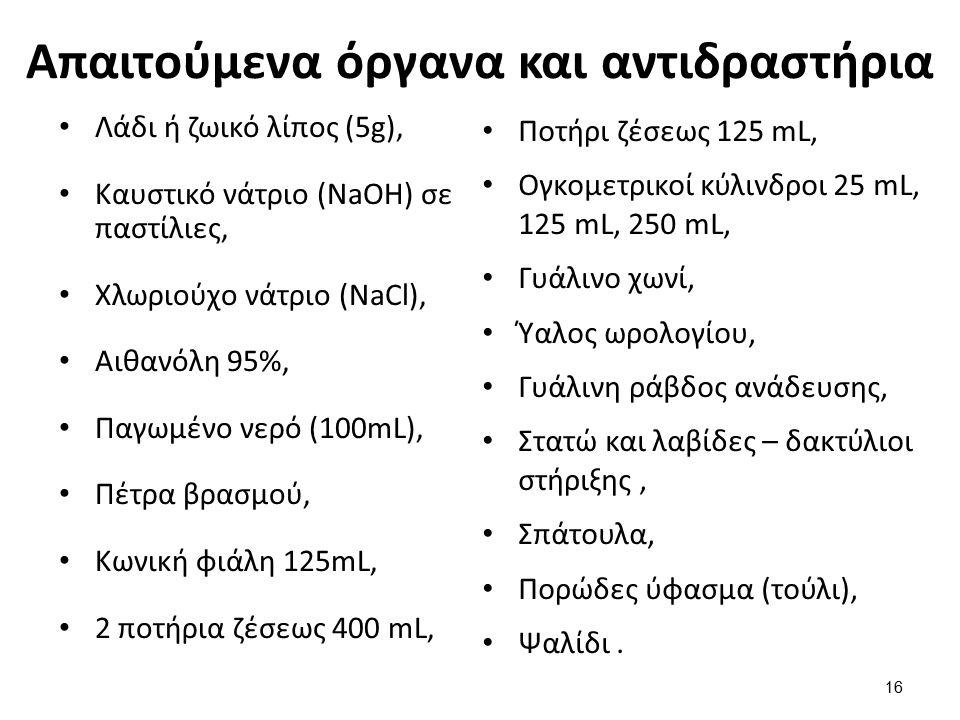 Απαιτούμενα όργανα και αντιδραστήρια Λάδι ή ζωικό λίπος (5g), Καυστικό νάτριο (NaOH) σε παστίλιες, Χλωριούχο νάτριο (NaCl), Αιθανόλη 95%, Παγωμένο νερ