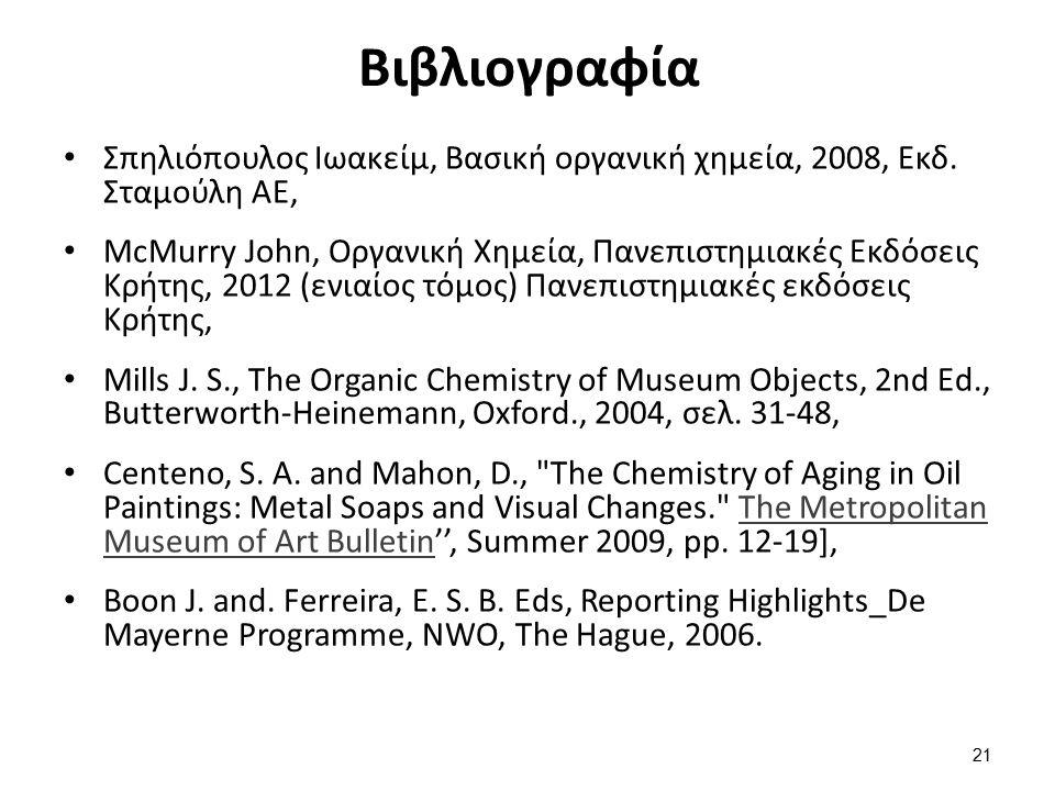 Βιβλιογραφία Σπηλιόπουλος Ιωακείμ, Βασική οργανική χημεία, 2008, Εκδ. Σταμούλη ΑΕ, McMurry John, Οργανική Χημεία, Πανεπιστημιακές Εκδόσεις Κρήτης, 201