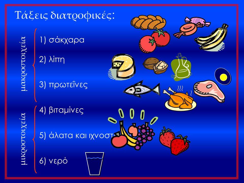 Τάξεις διατροφικές : 1) σάκχαρα 2) λίπη 3) πρωτεΐνες 4) βιταμίνες 5) άλατα και ιχνοστοιχεία 6) νερό μακροστοιχεία μικροστοιχεία