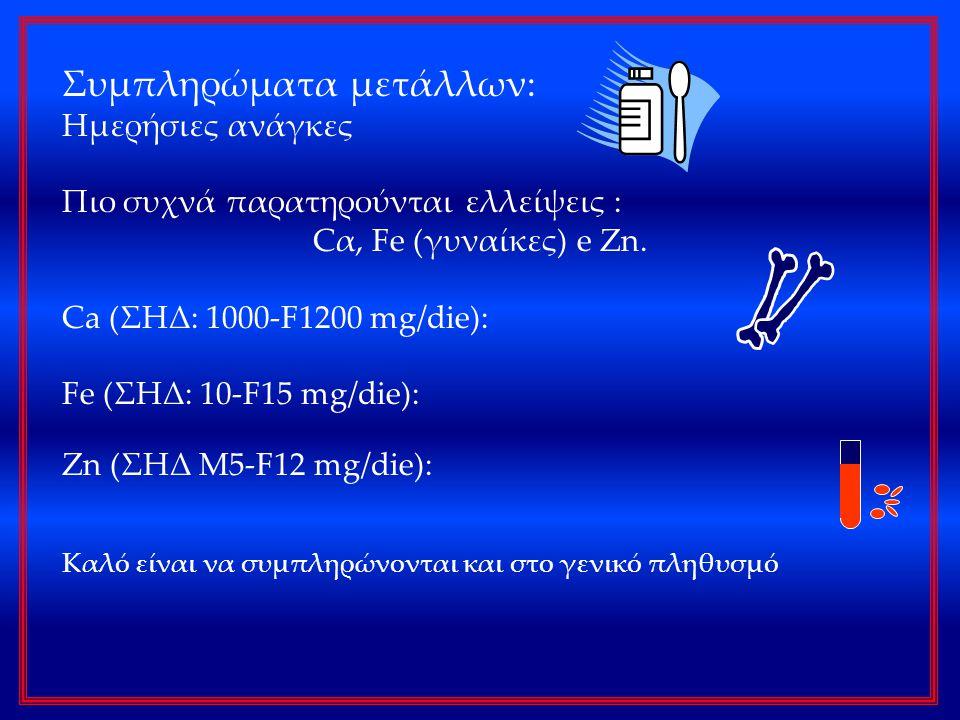 Συμπληρώματα μετάλλων: Ημερήσιες ανάγκες Πιο συχνά παρατηρούνται ελλείψεις : Cα, Fe (γυναίκες) e Zn. Ca (ΣΗΔ: 1000-F1200 mg/die): Fe (ΣΗΔ: 10-F15 mg/d