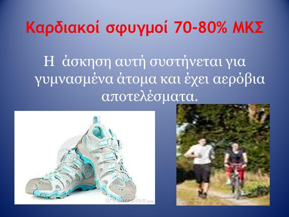Καρδιακοί σφυγμοί 70-80% ΜΚΣ Η άσκηση αυτή συστήνεται για γυμνασμένα άτομα και έχει αερόβια αποτελέσματα.
