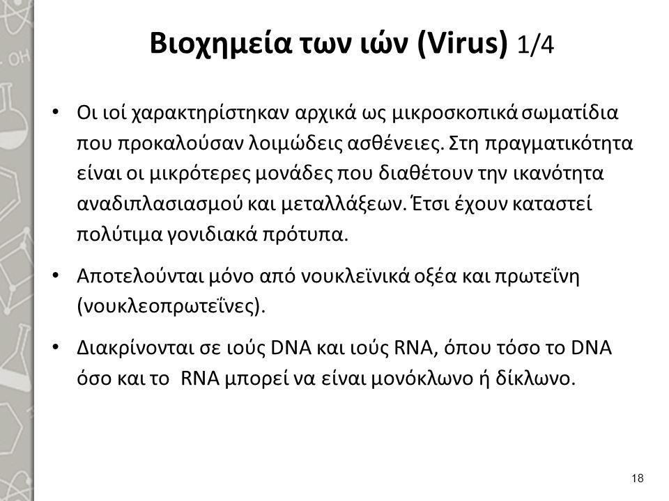 Βιοχημεία των ιών (Virus) 1/4 Οι ιοί χαρακτηρίστηκαν αρχικά ως μικροσκοπικά σωματίδια που προκαλούσαν λοιμώδεις ασθένειες. Στη πραγματικότητα είναι οι