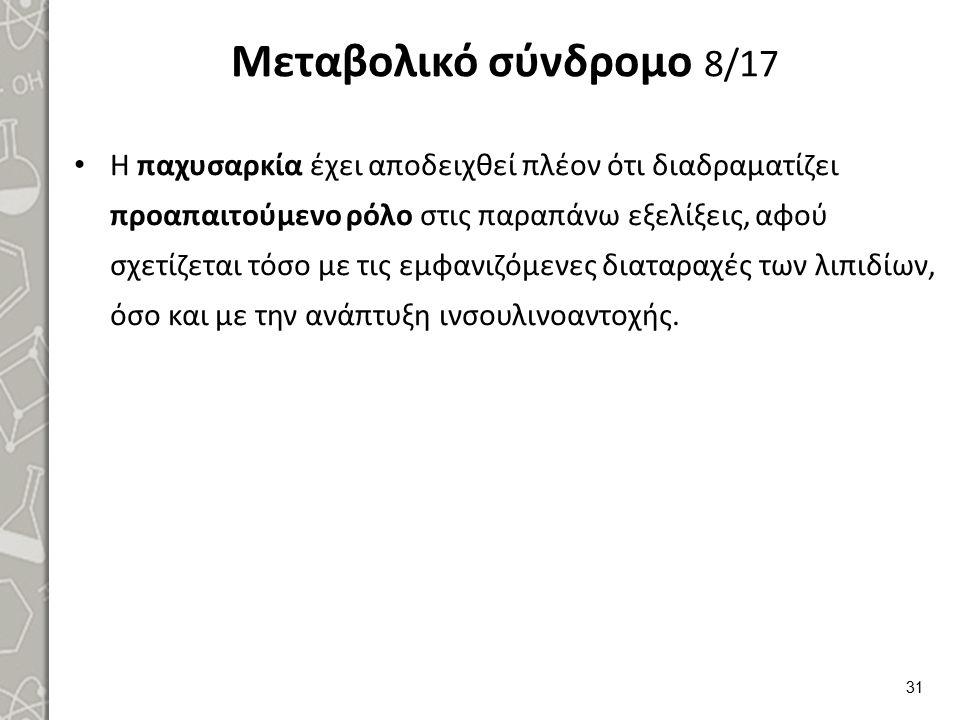 Μεταβολικό σύνδρομο 8/17 Η παχυσαρκία έχει αποδειχθεί πλέον ότι διαδραματίζει προαπαιτούμενο ρόλο στις παραπάνω εξελίξεις, αφού σχετίζεται τόσο με τις