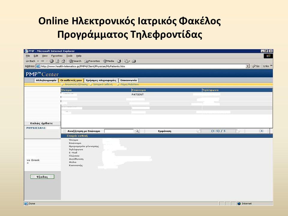 Online Ηλεκτρονικός Ιατρικός Φακέλος Προγράμματος Τηλεφροντίδας