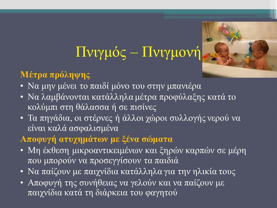 Πνιγμός – Πνιγμονή Μέτρα πρόληψης Να μην μένει το παιδί μόνο του στην μπανιέρα Να λαμβάνονται κατάλληλα μέτρα προφύλαξης κατά το κολύμπι στη θάλασσα ή σε πισίνες Τα πηγάδια, οι στέρνες ή άλλοι χώροι συλλογής νερού να είναι καλά ασφαλισμένα Αποφυγή ατυχημάτων με ξένα σώματα Μη έκθεση μικροαντικειμένων και ξηρών καρπών σε μέρη που μπορούν να προσεγγίσουν τα παιδιά Να παίζουν με παιχνίδια κατάλληλα για την ηλικία τους Αποφυγή της συνήθειας να γελούν και να παίζουν με παιχνίδια κατά τη διάρκεια του φαγητού