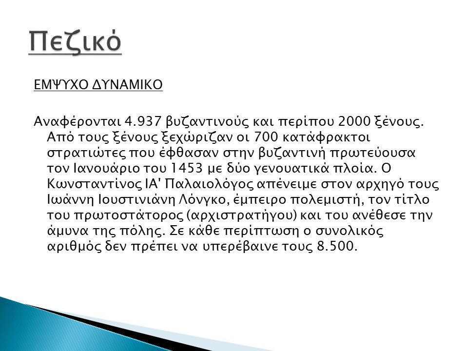 ΕΜΨΥΧΟ ΔΥΝΑΜΙΚΟ Αναφέρονται 4.937 βυζαντινούς και περίπου 2000 ξένους. Από τους ξένους ξεχώριζαν οι 700 κατάφρακτοι στρατιώτες που έφθασαν στην βυζαντ