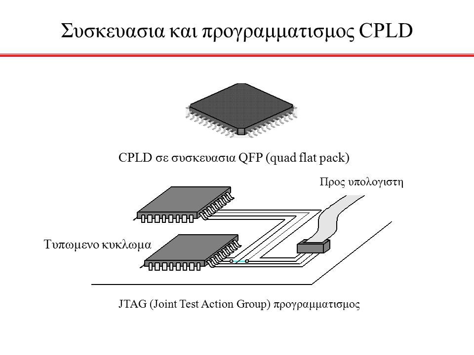 Συσκευασια και προγραμματισμος CPLD CPLD σε συσκευασια QFP (quad flat pack) Τυπωμενο κυκλωμα Προς υπολογιστη JTAG (Joint Test Action Group) προγραμματισμος