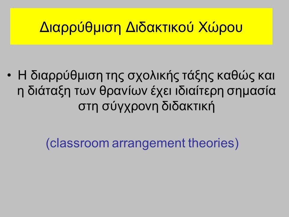 Διαρρύθμιση Διδακτικού Χώρου Η διαρρύθμιση της σχολικής τάξης καθώς και η διάταξη των θρανίων έχει ιδιαίτερη σημασία στη σύγχρονη διδακτική (classroom arrangement theories)