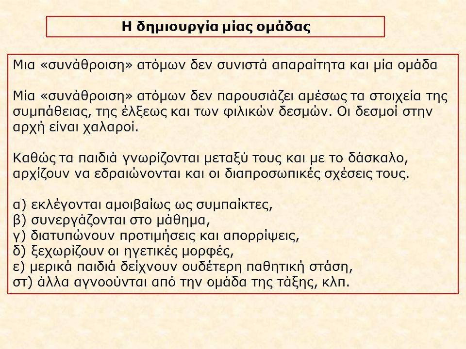 ΒΗΜΑΤΑ ΔΗΜΙΟΥΡΓΙΑΣ ΟΜΑΔΑΣ