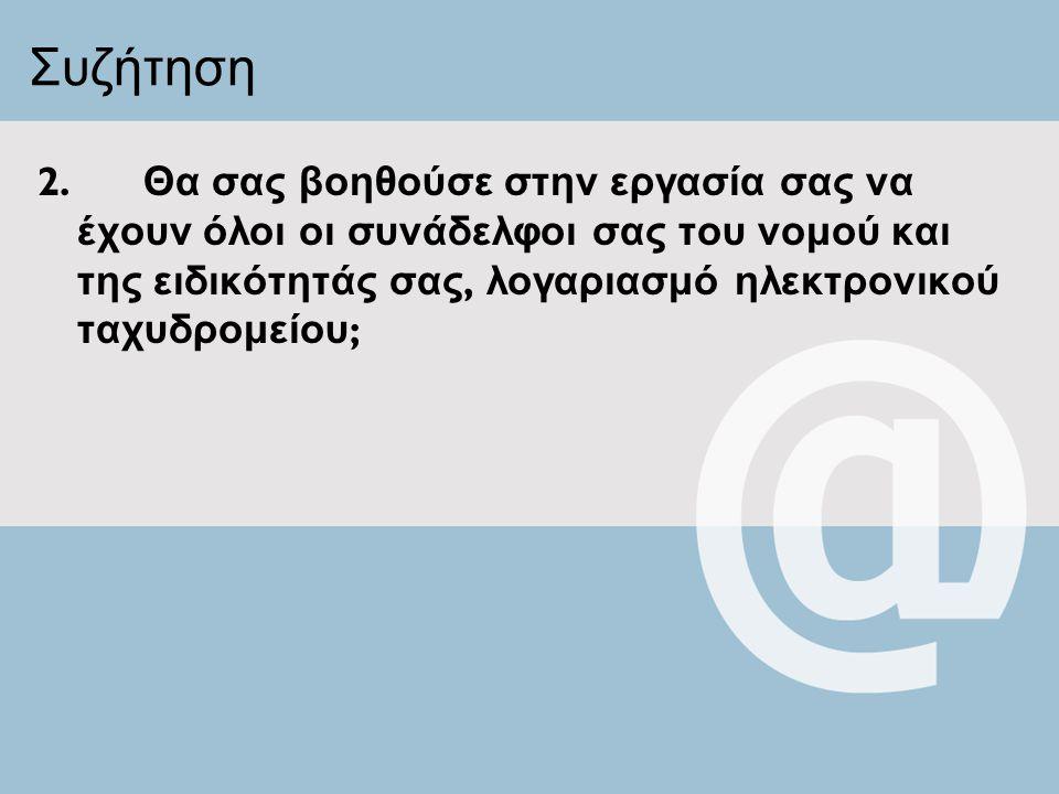 Συζήτηση 2. Θα σας βοηθούσε στην εργασία σας να έχουν όλοι οι συνάδελφοι σας του νομού και της ειδικότητάς σας, λογαριασμό ηλεκτρονικού ταχυδρομείου ;