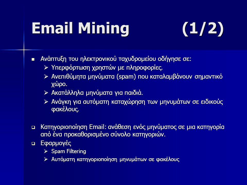 Email Mining (1/2) Ανάπτυξη του ηλεκτρονικού ταχυδρομείου οδήγησε σε: Ανάπτυξη του ηλεκτρονικού ταχυδρομείου οδήγησε σε:  Υπερφόρτωση χρηστών με πληροφορίες.