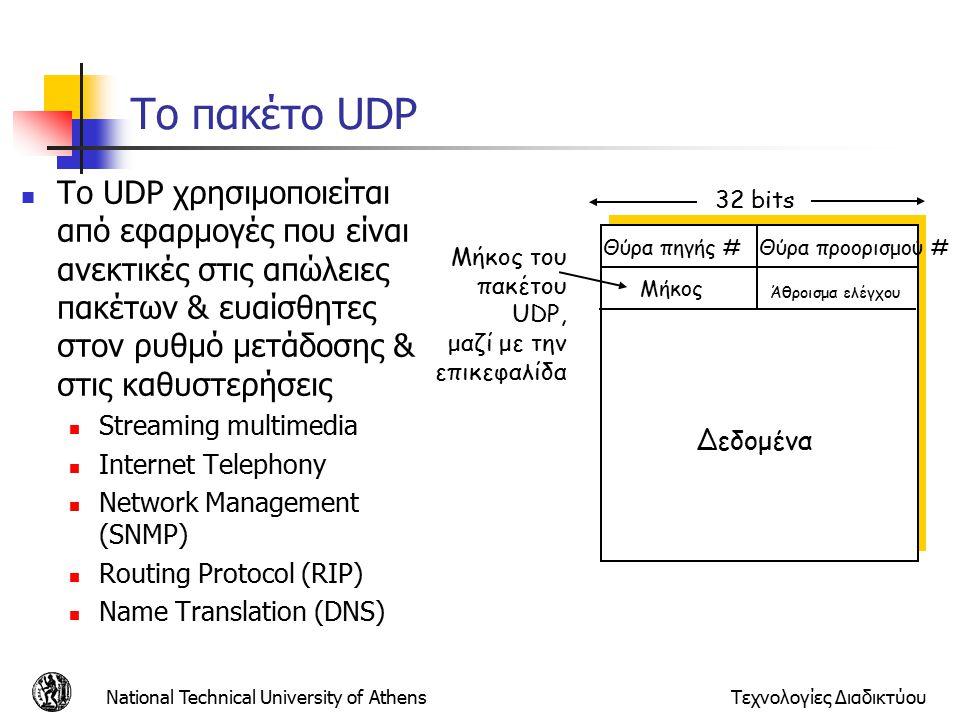National Technical University of AthensΤεχνολογίες Διαδικτύου Το πακέτο UDP Θύρα πηγής #Θύρα προορισμού # 32 bits Δεδομένα Μήκος Άθροισμα ελέγχου Μήκος του πακέτου UDP, μαζί με την επικεφαλίδα Το UDP χρησιμοποιείται από εφαρμογές που είναι ανεκτικές στις απώλειες πακέτων & ευαίσθητες στον ρυθμό μετάδοσης & στις καθυστερήσεις Streaming multimedia Internet Telephony Network Management (SNMP) Routing Protocol (RIP) Name Translation (DNS)