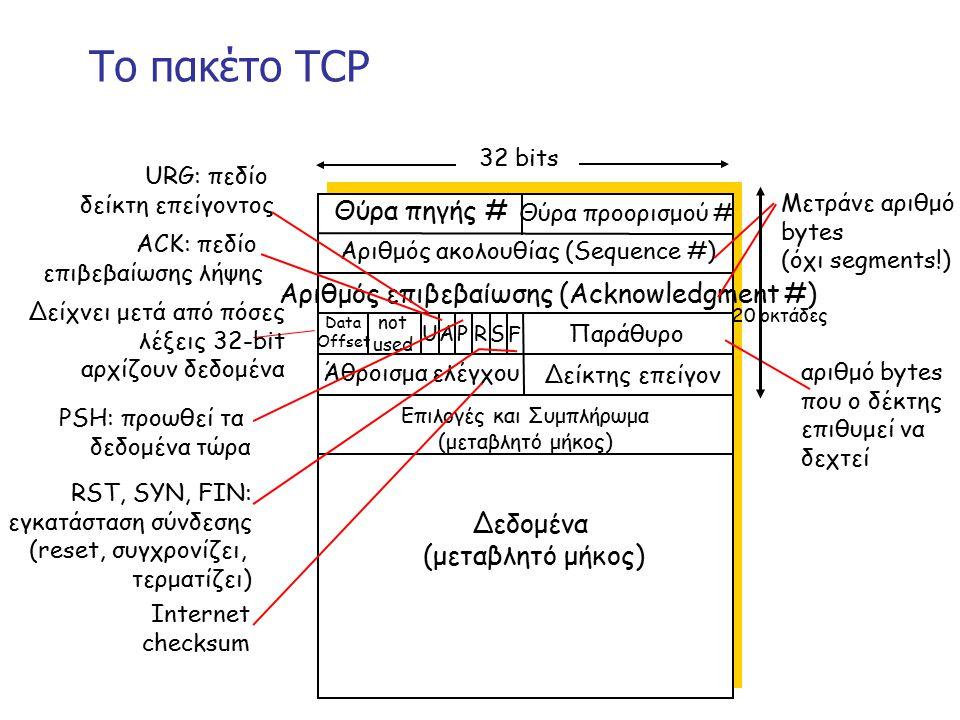 Το πακέτο TCP Θύρα πηγής # Θύρα προορισμού # 32 bits Δεδομένα (μεταβλητό μήκος) Αριθμός ακολουθίας (Sequence #) Αριθμός επιβεβαίωσης (Acknowledgment #) Παράθυρο Δείκτης επείγον Άθροισμα ελέγχου F SR PAU Data Offset not used Επιλογές και Συμπλήρωμα (μεταβλητό μήκος) URG: πεδίο δείκτη επείγοντος ACK: πεδίο επιβεβαίωσης λήψης PSH: προωθεί τα δεδομένα τώρα RST, SYN, FIN: εγκατάσταση σύνδεσης (reset, συγχρονίζει, τερματίζει) αριθμό bytes που ο δέκτης επιθυμεί να δεχτεί Μετράνε αριθμό bytes (όχι segments!) Internet checksum 20 οκτάδες Δείχνει μετά από πόσες λέξεις 32-bit αρχίζουν δεδομένα