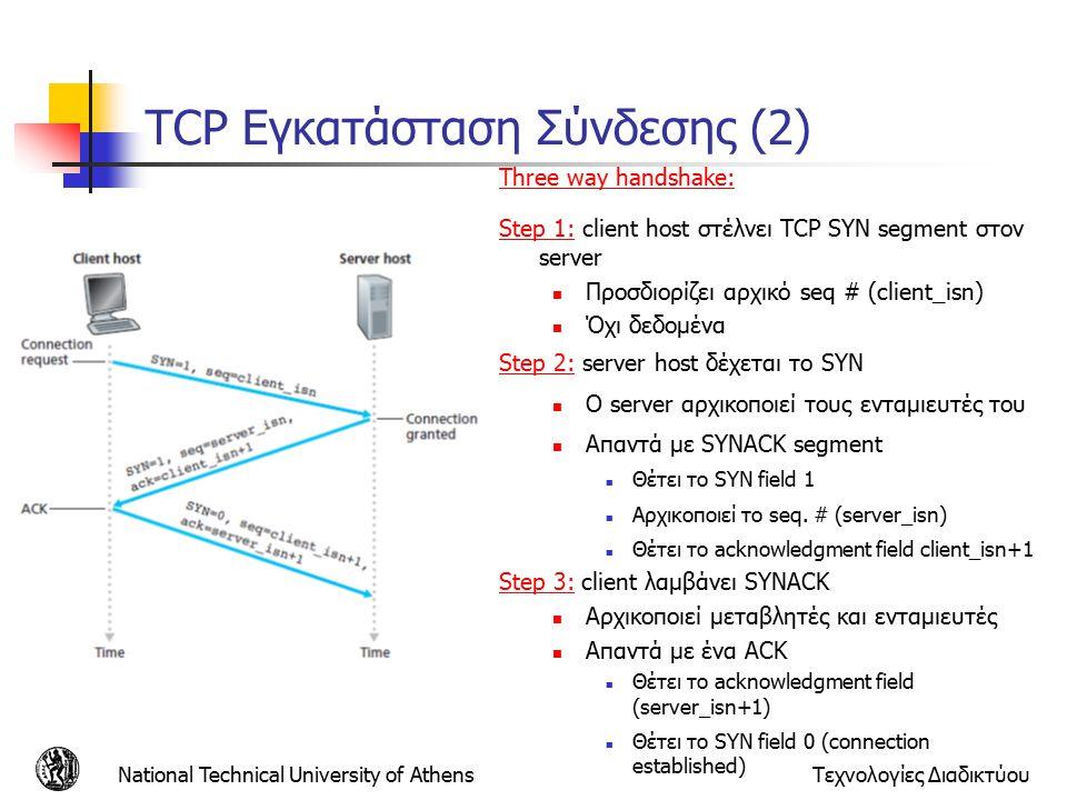 National Technical University of AthensΤεχνολογίες Διαδικτύου TCP Εγκατάσταση Σύνδεσης (2) Three way handshake: Step 1: client host στέλνει TCP SYN segment στον server Προσδιορίζει αρχικό seq # (client_isn) Όχι δεδομένα Step 2: server host δέχεται το SYN Ο server αρχικοποιεί τους ενταμιευτές του Απαντά με SYNACK segment Θέτει το SYN field 1 Αρχικοποιεί το seq.