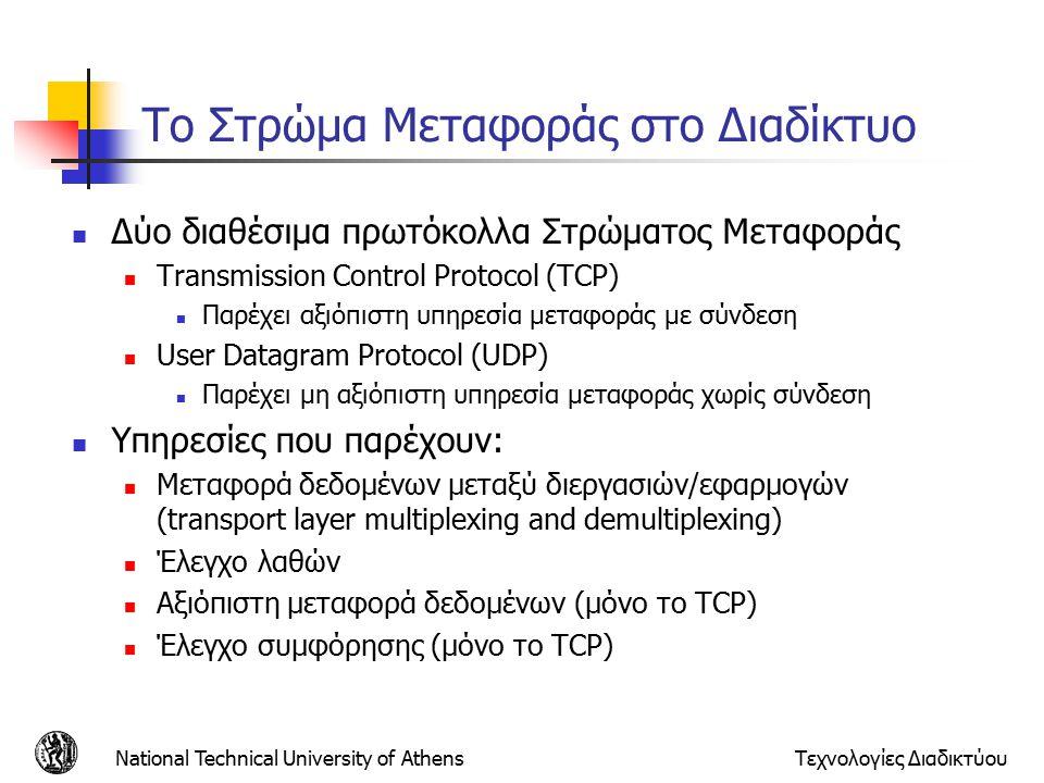 Το Στρώμα Μεταφοράς στο Διαδίκτυο Δύο διαθέσιμα πρωτόκολλα Στρώματος Μεταφοράς Transmission Control Protocol (TCP) Παρέχει αξιόπιστη υπηρεσία μεταφοράς με σύνδεση User Datagram Protocol (UDP) Παρέχει μη αξιόπιστη υπηρεσία μεταφοράς χωρίς σύνδεση Υπηρεσίες που παρέχουν: Μεταφορά δεδομένων μεταξύ διεργασιών/εφαρμογών (transport layer multiplexing and demultiplexing) Έλεγχο λαθών Αξιόπιστη μεταφορά δεδομένων (μόνο το TCP) Έλεγχο συμφόρησης (μόνο το TCP) National Technical University of AthensΤεχνολογίες Διαδικτύου