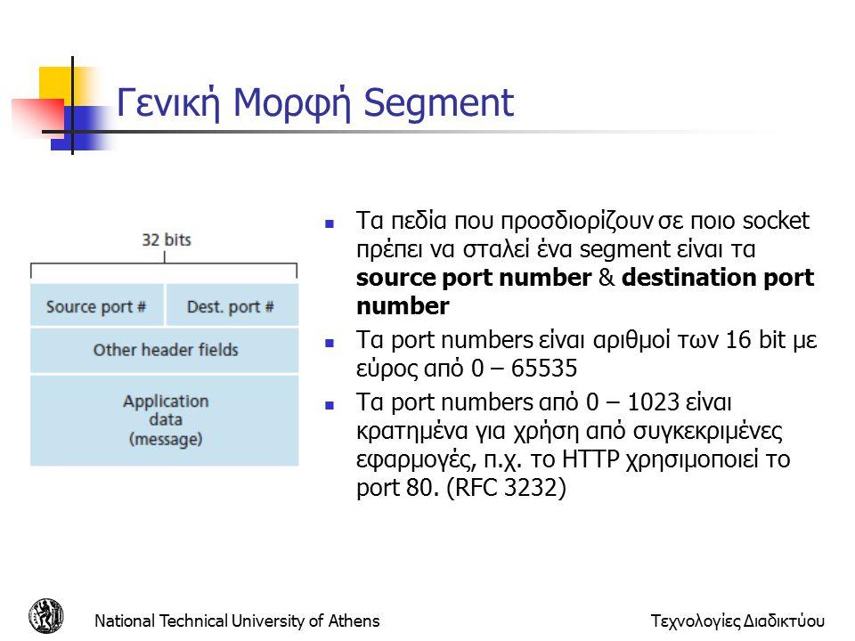 Γενική Μορφή Segment National Technical University of AthensΤεχνολογίες Διαδικτύου Τα πεδία που προσδιορίζουν σε ποιο socket πρέπει να σταλεί ένα segment είναι τα source port number & destination port number Τα port numbers είναι αριθμοί των 16 bit με εύρος από 0 – 65535 Τα port numbers από 0 – 1023 είναι κρατημένα για χρήση από συγκεκριμένες εφαρμογές, π.χ.