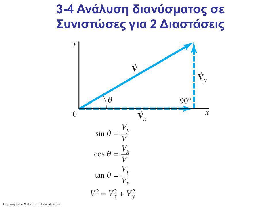 Copyright © 2009 Pearson Education, Inc. 3-4 Ανάλυση διανύσματος σε Συνιστώσες για 2 Διαστάσεις