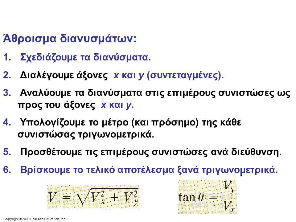 Copyright © 2009 Pearson Education, Inc. Άθροισμα διανυσμάτων: 1. Σχεδιάζουμε τα διανύσματα. 2. Διαλέγουμε άξονες x και y (συντεταγμένες). 3. Αναλύουμ