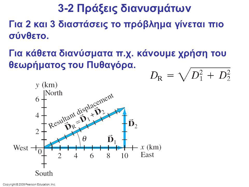 Copyright © 2009 Pearson Education, Inc. Για 2 και 3 διαστάσεις το πρόβλημα γίνεται πιο σύνθετο. Για κάθετα διανύσματα π.χ. κάνουμε χρήση του θεωρήματ