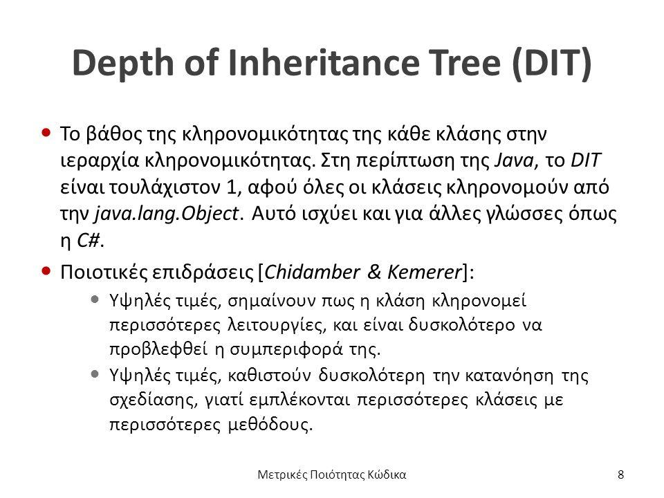 Depth of Inheritance Tree (DIT) Το βάθος της κληρονομικότητας της κάθε κλάσης στην ιεραρχία κληρονομικότητας.