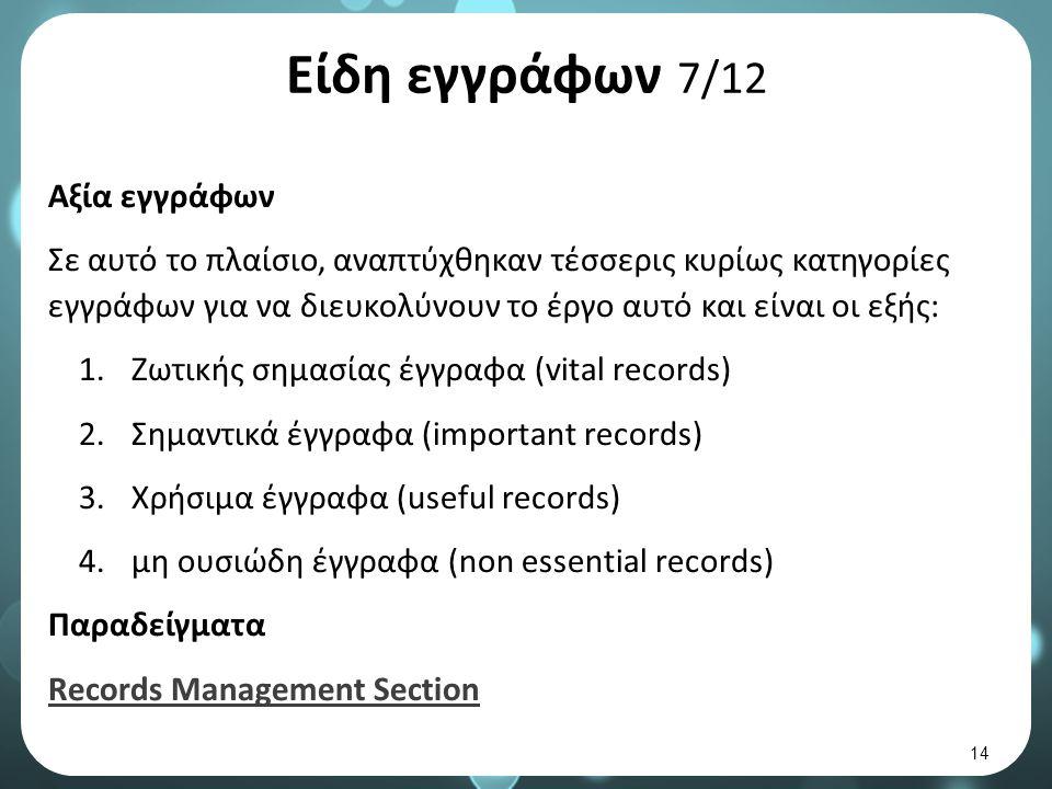 Είδη εγγράφων 7/12 Αξία εγγράφων Σε αυτό το πλαίσιο, αναπτύχθηκαν τέσσερις κυρίως κατηγορίες εγγράφων για να διευκολύνουν το έργο αυτό και είναι οι εξής: 1.Ζωτικής σημασίας έγγραφα (vital records) 2.Σημαντικά έγγραφα (important records) 3.Χρήσιμα έγγραφα (useful records) 4.μη ουσιώδη έγγραφα (non essential records) Παραδείγματα Records Management Section 14