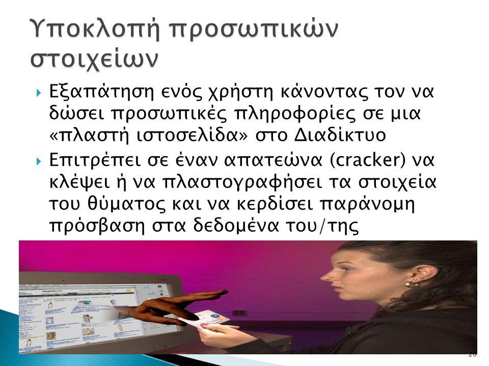  Εξαπάτηση ενός χρήστη κάνοντας τον να δώσει προσωπικές πληροφορίες σε μια «πλαστή ιστοσελίδα» στο Διαδίκτυο  Επιτρέπει σε έναν απατεώνα (cracker) ν