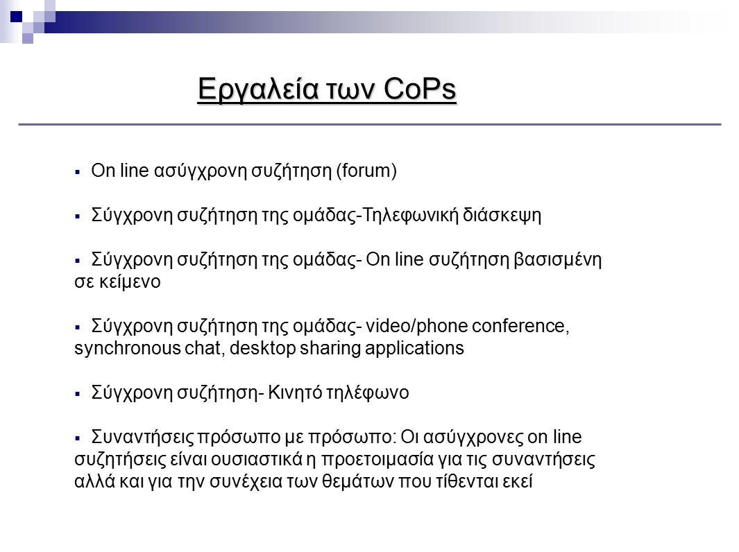 Εργαλεία των CoPs  On line ασύγχρονη συζήτηση (forum)  Σύγχρονη συζήτηση της ομάδας-Τηλεφωνική διάσκεψη  Σύγχρονη συζήτηση της ομάδας- On line συζή