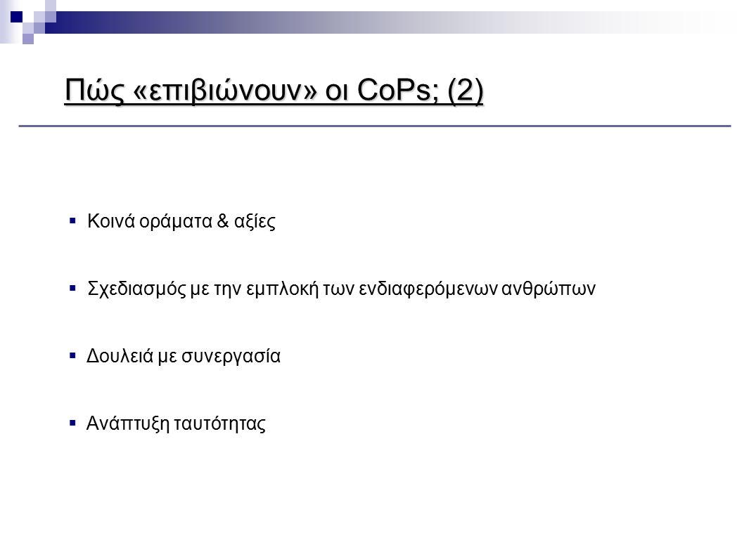 Πώς «επιβιώνουν» οι CoPs; (2)  Κοινά οράματα & αξίες  Σχεδιασμός με την εμπλοκή των ενδιαφερόμενων ανθρώπων  Δουλειά με συνεργασία  Ανάπτυξη ταυτό
