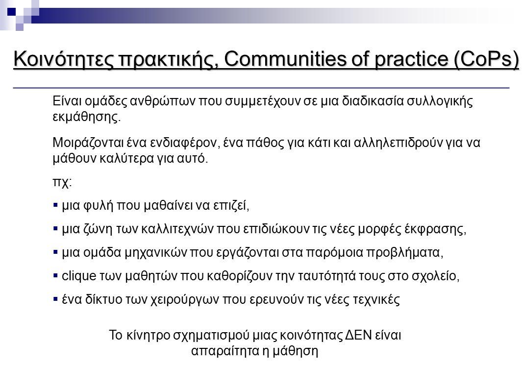 Κοινότητες πρακτικής, Communities of practice (CoPs) Είναι ομάδες ανθρώπων που συμμετέχουν σε μια διαδικασία συλλογικής εκμάθησης. Μοιράζονται ένα ενδ