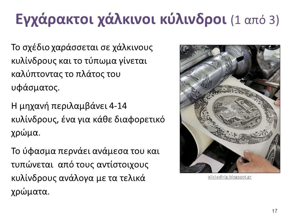 Εγχάρακτοι χάλκινοι κύλινδροι (1 από 3) Το σχέδιο χαράσσεται σε χάλκινους κυλίνδρους και το τύπωμα γίνεται καλύπτοντας το πλάτος του υφάσματος. Η μηχα