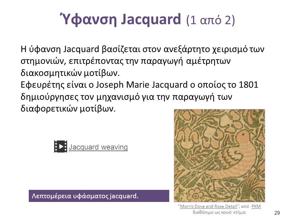 Ύφανση Jacquard (1 από 2) Η ύφανση Jacquard βασίζεται στον ανεξάρτητο χειρισμό των στημονιών, επιτρέποντας την παραγωγή αμέτρητων διακοσμητικών μοτίβω