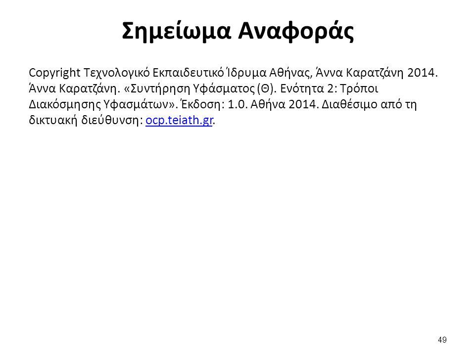 Σημείωμα Αναφοράς Copyright Τεχνολογικό Εκπαιδευτικό Ίδρυμα Αθήνας, Άννα Καρατζάνη 2014. Άννα Καρατζάνη. «Συντήρηση Υφάσματος (Θ). Ενότητα 2: Τρόποι Δ