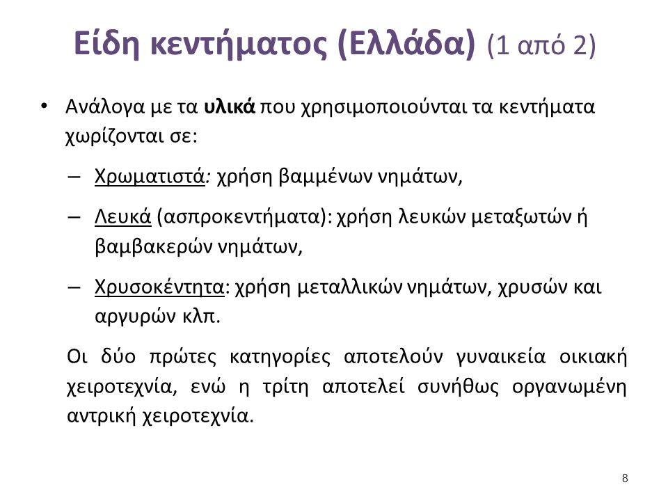Είδη κεντήματος (Ελλάδα) (1 από 2) Ανάλογα με τα υλικά που χρησιμοποιούνται τα κεντήματα χωρίζονται σε: – Χρωματιστά: χρήση βαμμένων νημάτων, – Λευκά