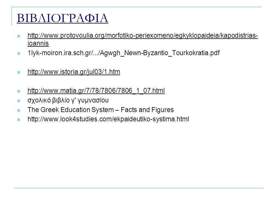 ΒΙΒΛΙΟΓΡΑΦΙΑ http://www.protovoulia.org/morfotiko-periexomeno/egkyklopaideia/kapodistrias- ioannis http://www.protovoulia.org/morfotiko-periexomeno/egkyklopaideia/kapodistrias- ioannis 1lyk-moiron.ira.sch.gr/.../Agwgh_Newn-Byzantio_Tourkokratia.pdf http://www.istoria.gr/jul03/1.htm http://www.matia.gr/7/78/7806/7806_1_07.html σχολικό βιβλίο γ γυμνασίου The Greek Education System – Facts and Figures http://www.look4studies.com/ekpaideutiko-systima.html