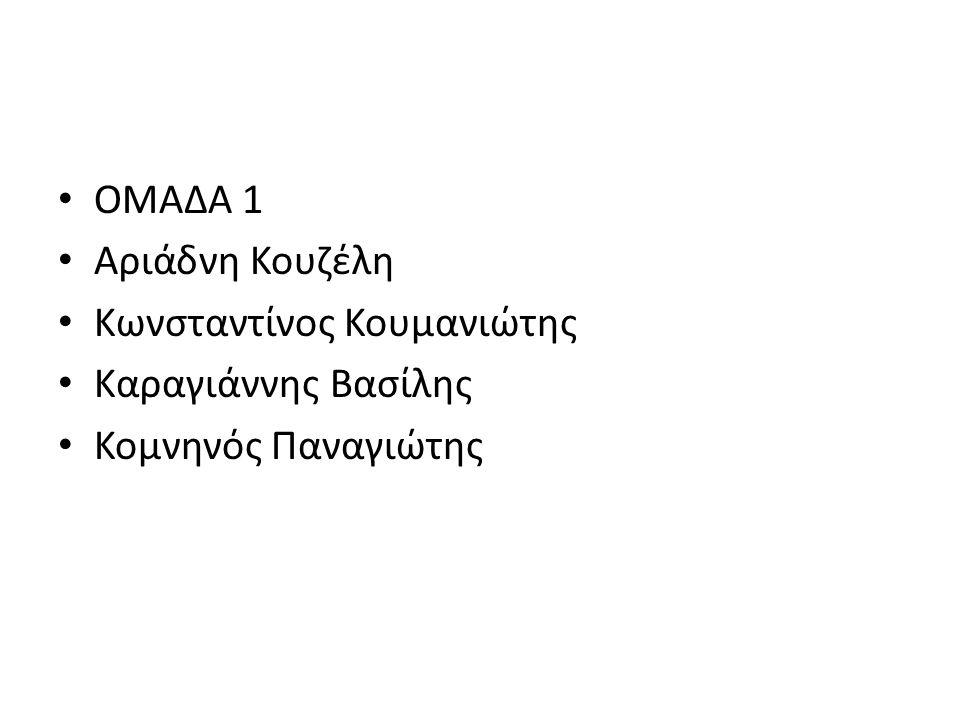 ΟΜΑΔΑ 1 Αριάδνη Κουζέλη Κωνσταντίνος Κουμανιώτης Καραγιάννης Βασίλης Κομνηνός Παναγιώτης