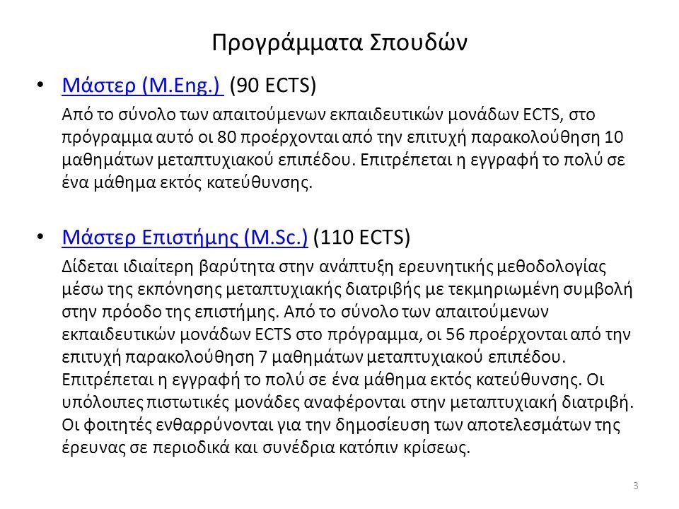 Προγράμματα Σπουδών Μάστερ (Μ.Εng.) (90 ECTS) Μάστερ (Μ.Εng.) Από το σύνολο των απαιτούμενων εκπαιδευτικών μονάδων ECTS, στο πρόγραμμα αυτό οι 80 προέρχονται από την επιτυχή παρακολούθηση 10 μαθημάτων μεταπτυχιακού επιπέδου.