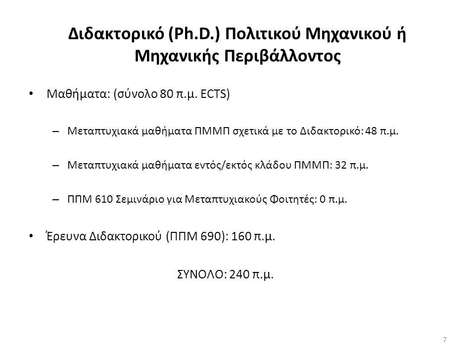 Διδακτορικό (Ph.D.) Πολιτικού Μηχανικού ή Μηχανικής Περιβάλλοντος Μαθήματα: (σύνολο 80 π.μ.