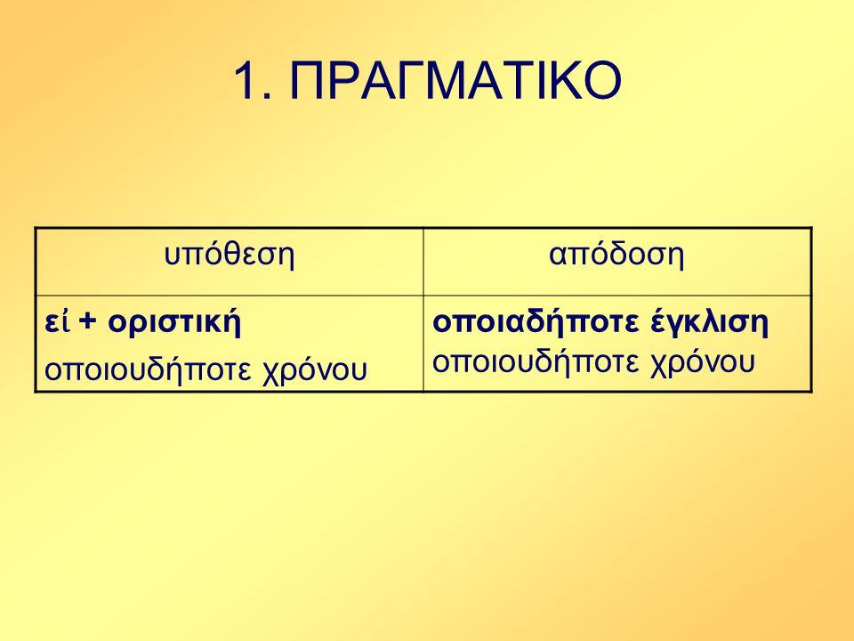 1.ΠΡΑΓΜΑΤΙΚΟ Παραδείγματα 1.Εἰ βούλει, μένε. 2.Εἰ δέ τις ἄλλο ὁρᾷ βέλτιον, λεξάτω.