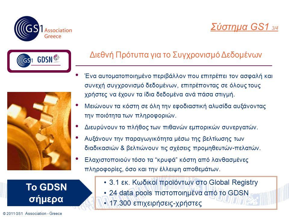 © 2011 GS1 Association - Greece Διεθνή Πρότυπα για το Συγχρονισμό Δεδομένων Ένα αυτοματοποιημένο περιβάλλον που επιτρέπει τον ασφαλή και συνεχή συγχρονισμό δεδομένων, επιτρέποντας σε όλους τους χρήστες να έχουν τα ίδια δεδομένα ανά πάσα στιγμή.