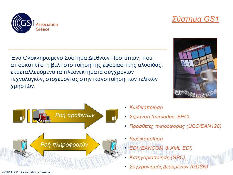 © 2011 GS1 Association - Greece Ένα Ολοκληρωμένο Σύστημα Διεθνών Προτύπων, που αποσκοπεί στη βελτιστοποίηση της εφοδιαστικής αλυσίδας, εκμεταλλευόμενο τα πλεονεκτήματα σύγχρονων τεχνολογιών, στοχεύοντας στην ικανοποίηση των τελικών χρηστών.